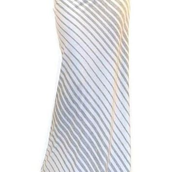 Emily Grey White Striped Long Maxi Skirt