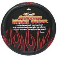 Red Tip Flames Steering Wheel Cover