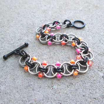Chainmaille Jewelry, Stainless Steel Jewelry, Neon Bracelet, Ombre Jewelry, Chainmail Jewelry, Chain Mail Jewelry, Chain Maille Jewelry