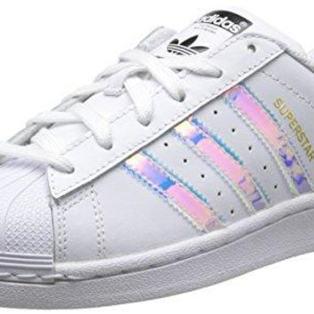 adidas Originals Superstar J White/Iridescent Leather Youth Trainers