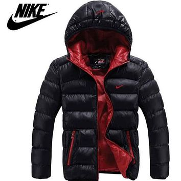 """NIKE"" Trending Casual Men Long Sleeve Cardigan Bread Down Coat Hoodie Cotton Jacket Windbreaker"