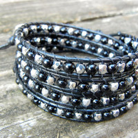 Beaded Leather 4 Wrap Bracelet with Black and Silver Beads on Black Leather