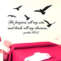 Psalm 103 Wall Decal Quote He Forgives All My Sins Birds Vinyl Stickers Sea Gull Mural Home Interior Design Living Room Decor KI68
