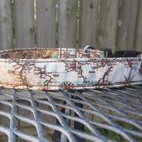 Dog Collar - MADE TO ORDER Rustic World Map Print in Brown and Blue, unique dog collar, boy dog collar, fabric dog collar