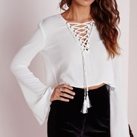 Missguided - Tall Bell Sleeve Tie Up Blouse White