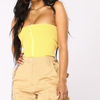 So Cruel Ribbed Tube Top - Yellow