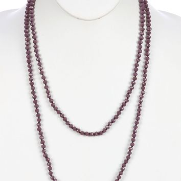 Purple Iridescent Glass Bead Extra Long Wraparound Necklace