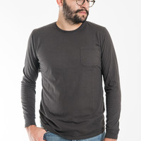 Long Sleeve Pocket Tee - Charcoal