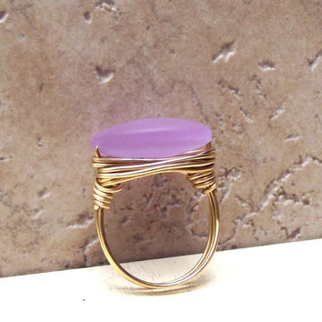 Lavender Sea Glass Ring:  Brass Wire Wrapped Beach Jewelry, Color Changing Periwinkle Gray, Size 7