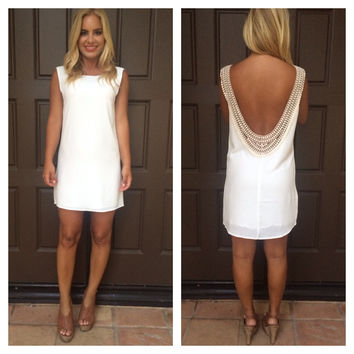 Holly Crochet Back Shift Dress - WHITE