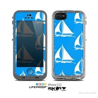 The Blue Vector Sailboats Skin for the Apple iPhone 5c LifeProof Case