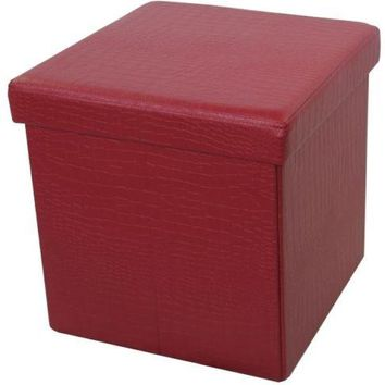 Foldable Storage Ottoman RED Modern Square Footstool Living Room