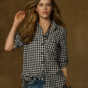 Denim & Supply Ralph Lauren Top, Long-Sleeve Gingham Utility Shirt - Tops - Women - Macy's