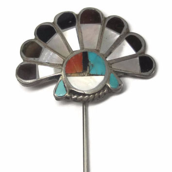 Vintage Zuni Inlaid Sunface Stick Pin Sterling Turquoise Coral Mother of Pearl Jet Signed