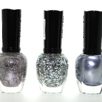 Silver Addiction 3 Piece Color Nail Lacquer Combo Set -Sheer Lilac Lining Glitter