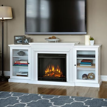 Real Flame Frederick White Entertainment Center Electric 72-inch Fireplace | Overstock.com Shopping - The Best Deals on Indoor Fireplaces