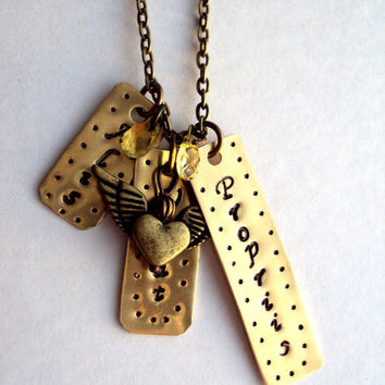 Hand Stamped Shinny Brass Pendant - She Flies With Her Own Wings - In Latin - Alis Volat Propriis