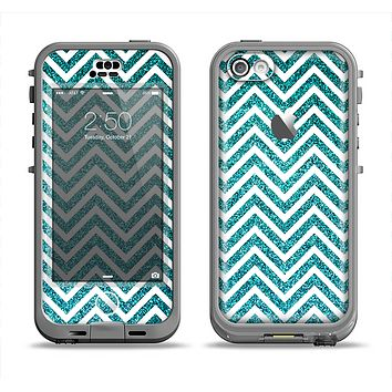 The Teal & White  Sharp Glitter Print Chevron Apple iPhone 5c LifeProof Nuud Case Skin Set