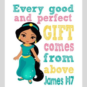 Jasmine Christian Princess Nursery Decor Wall Art Print - Every Good and Perfect Gift Comes From Above - James 1:17 Bible Verse - Multiple Sizes