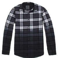 On The Byas Earl Plaid Dip Dye Long Sleeve Woven Shirt - Mens Shirt - Black