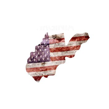 West Virginia Distressed Tattered Subdued USA American Flag Vinyl Sticker