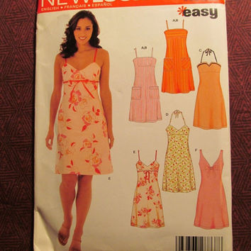 SALE Uncut Simplicity New Look Sewing Pattern, 6459! 8-10-12-14-16-18 Small/Medium/Large/Women's/Misses/Halter Dress/Sleeveless/Shoulder Str