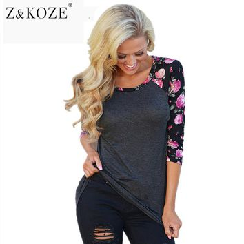 Z&KOZE 2017 Women Vintage Floral Printed T Shirts Three Quarter Sleeve O-Neck Casual Basic T-Shirt Lady Tee Shirt Femme Tops