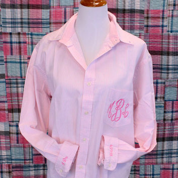 """Preppy Stripe Monogram Oversized Button Down Bride Shirt with """"I do"""" and Wedding Date on cuffs"""