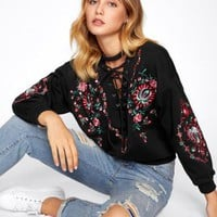 Ella Lace-Up Choker Sweater