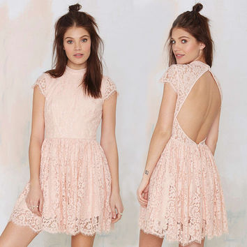Pink Lace Short Sleeve Back Cut-out Mini Skater Dress