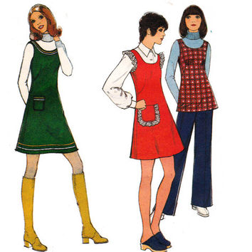 Mini Dress Tunic & Pants 1970s Vintage sewing pattern Style 3963 Size 12 Bust 34 inches