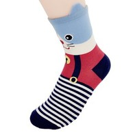 FunShop Woman's Cat and Dog with Ears Pattern Cotton Ankel Socks in 2 Colors Cat