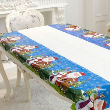 Christmas PVC Disposable Tablecloth Santa Clause Snowman Christmas Tree Pattern Table Cloth Cover Xmas Dinner Home Party Decor
