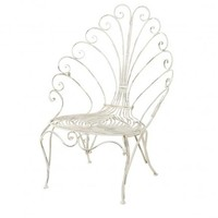 Peacock Scroll Back Chair in Distressed Cream