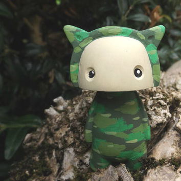 CamoKid! Fun and cute handmade resin character figure. (B)