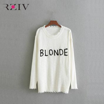Blonde Frayed Trim Lighter Weight Knit Embroidered Hair Color Sweater