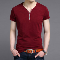 Summer Stylish Korean V-neck Men's Fashion Men Short Sleeve T-shirts [6544135363]