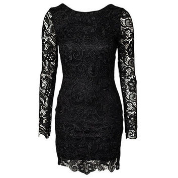 2016 Summer Style Lace Crochet Women Dress Backless Evening Party Dresses Long Sleeve Bodycon Night Club Wear Dress