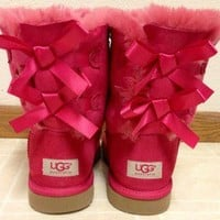 Pink UGG Australia Bailey Bow Boots Kids 6/Womans 8/8.5 ~REDUCED PRICE~