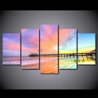 5 Pcs Piece Colorful Sunset Bridge scenery canvas wall art print poster abstrect