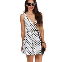 Sale- White Dotty Skater Dress