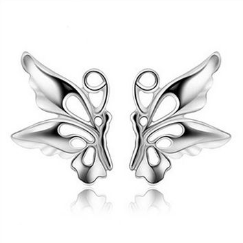 Womens 925 Silver Symmetric Butterfly Stud Earrings +Gift Box