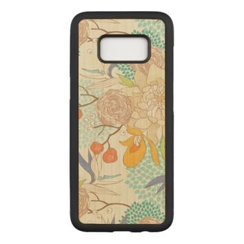 Trendy Modern Rose Peony Flower Pattern Carved Samsung Galaxy S8 Case
