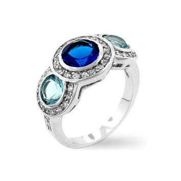 Daphne's Antique Style Sapphire & Aqua Three Stone Ring-Final Sale