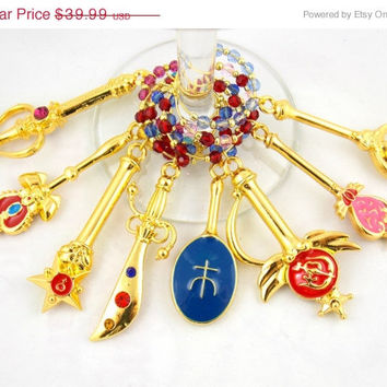 Sailor Moon Equipment inspired wine glass charms set of 8 video game charms handmade wine charms party wine charms