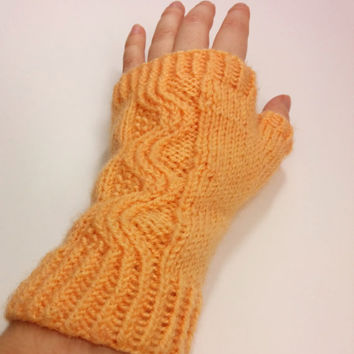 Orange fingerless gloves, cable knit fingerless gloves in light orange, purple or light blue, fingerless mittens, arm warmers, wrist warmers