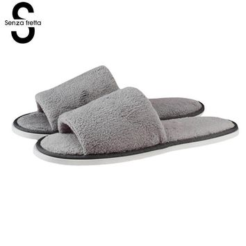 New Men Shoes Slippers Home Bedroom Soft Slippers Home Indoor Sweat Non-slip Striped C