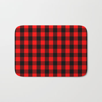 Classic Red and Black Buffalo Check Plaid Tartan Bath Mat by podartist