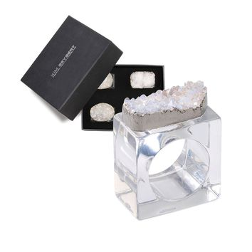 Rock Crystal Napkin Rings - Set of 4