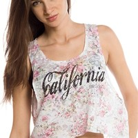 California Blossom Cropped Floral Print Muscle Tank - Ivory